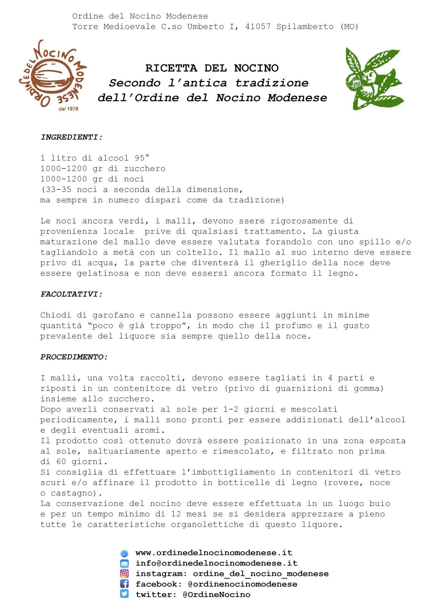 Ricetta Per Il Nocino.Ricetta Dell Ordine Del Nocino Modenese Ordine Del Nocino Modenese